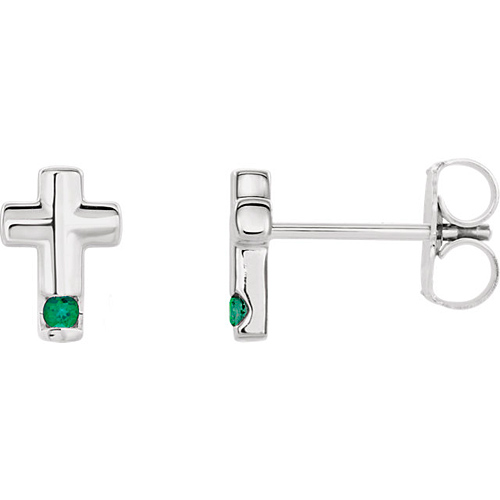 14k White Gold Emerald Accented Cross Earrings