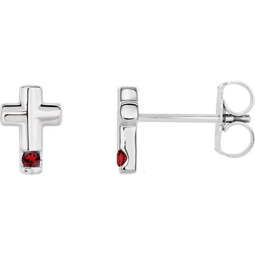 14k White Gold Garnet Accented Cross Earrings
