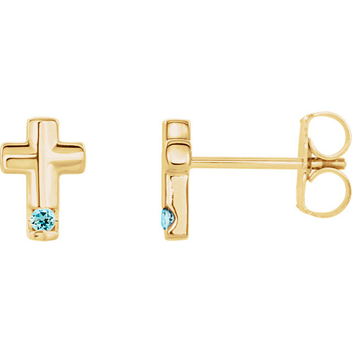 14k Yellow Gold Aquamarine Accented Cross Earrings