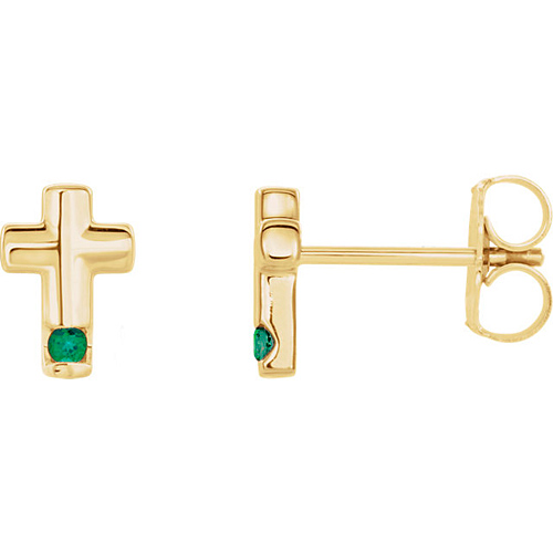 14k Yellow Gold Emerald Accented Cross Earrings
