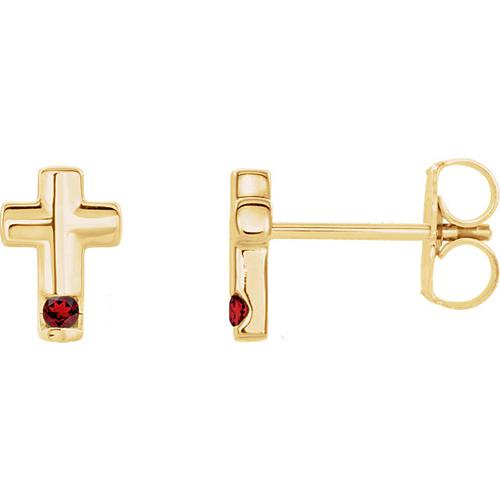 14k Yellow Gold Garnet Accented Cross Earrings