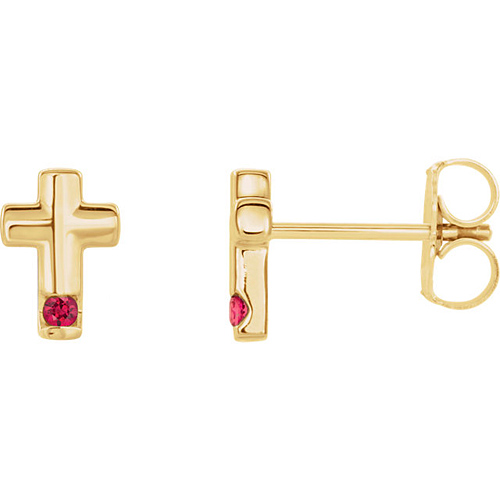 14k Yellow Gold Ruby Accented Cross Earrings