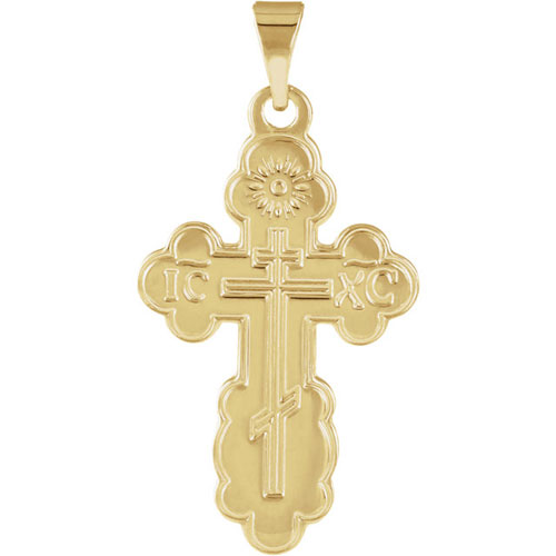 14kt Yellow Gold 3/4in Orthodox Cross