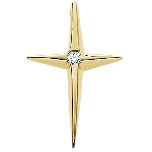 14kt Yellow Gold 3/4in Diamond Cross