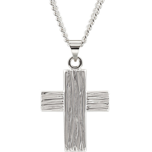 Sterling Silver 7/8in The Rugged Cross Pendant and 24in Chain