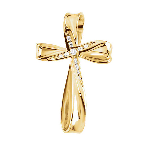 14kt Yellow Gold 1 1/4in Cross with 1/10 ct Diamond Accents