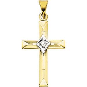 14kt Two-tone Gold 7/8in Diamond Cross