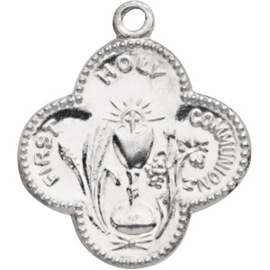 Sterling Silver 17.75mm First Holy Communion Medal