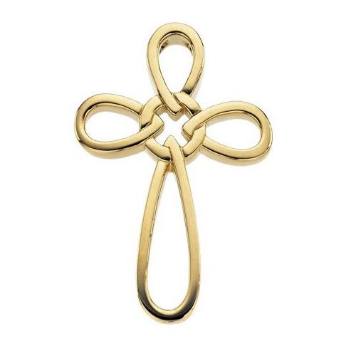 14kt Yellow Gold 1 1/3in Loop Cross