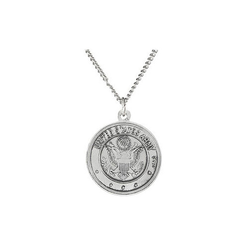 Sterling Silver 18mm St. Christopher Army Medal & 18in Chain