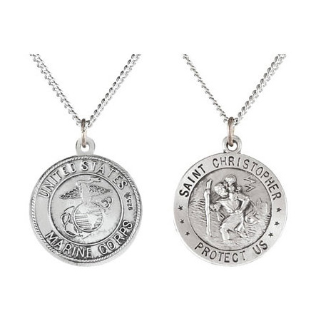 Sterling Silver 18mm St. Christopher USMC Medal & Chain