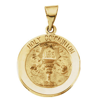 14kt Yellow Gold 3/4in Hollow Communion Medal