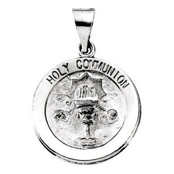 14k White Gold Hollow Communion Medal 3/4in