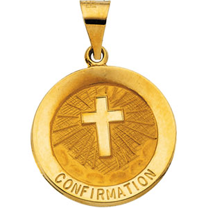 14kt Yellow Gold 18.25mm Hollow Confirmation Medal