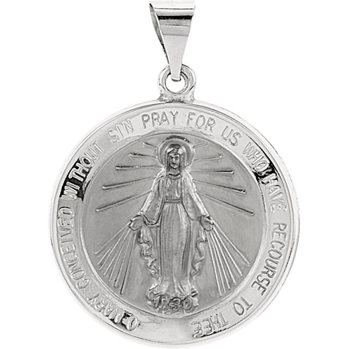 14kt White Gold 22mm Hollow Miraculous Medal - Clearance