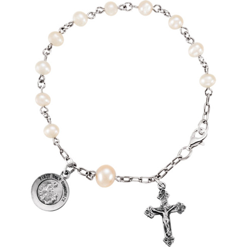 Sterling Silver 6in First Holy Communion Rosary Bracelet