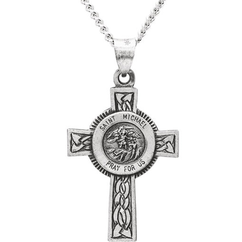 Sterling Silver 1 1/8in St. Michael Cross with 24in Chain