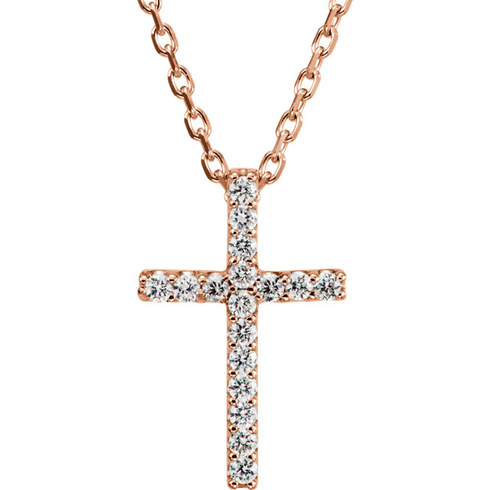 14kt Rose Gold Tiny .08 ct Diamond Cross 16in Necklace