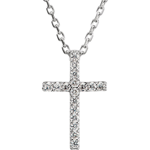 14kt White Gold Tiny .08 ct Diamond Cross 16in Necklace