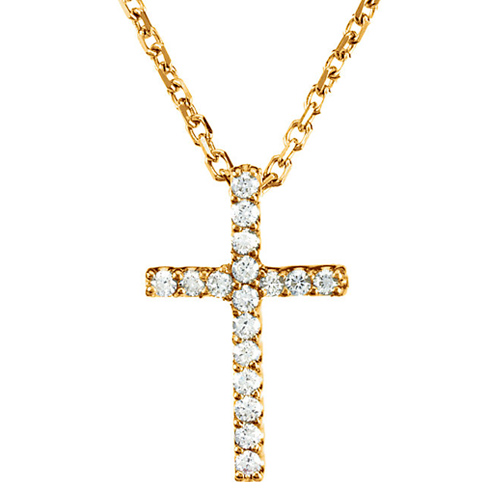 14kt Yellow Gold Tiny .08 ct Diamond Cross 16in Necklace