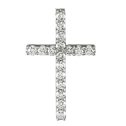 14kt White Gold 1/3 ct Diamond Cross 21mm Pendant