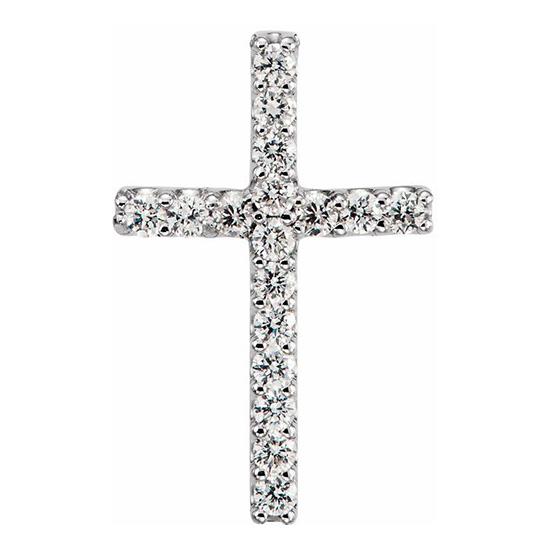 14kt White Gold 1/6 ct Diamond Cross 17mm Pendant