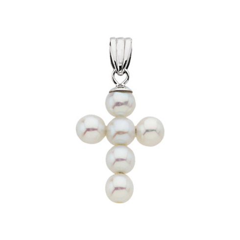 14kt White Gold 3/4in Freshwater Cultured Pearl Cross Pendant
