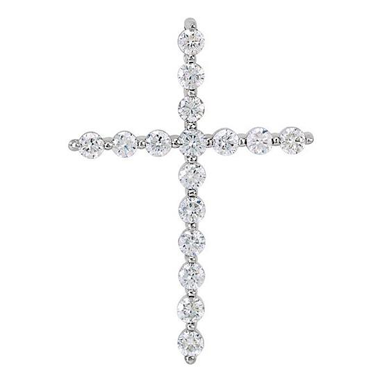 14kt White Gold 1/3 ct tw Diamond Cross Pendant