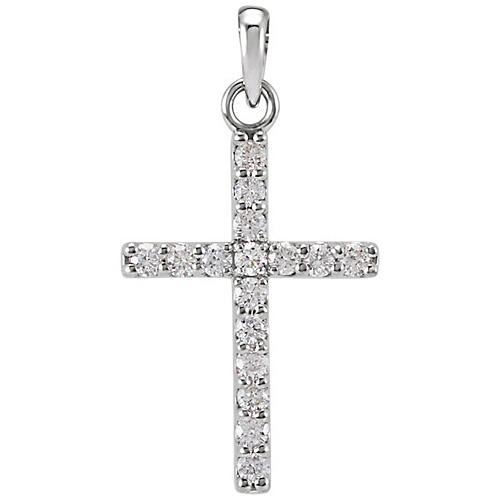 14kt White Gold 1/4 ct Diamond Cross Pendant