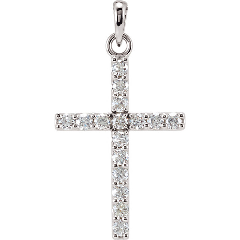 14kt White Gold 1/3 ct Diamond Cross Pendant