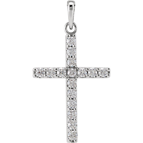 14kt White Gold 1/2 ct Diamond Cross Pendant