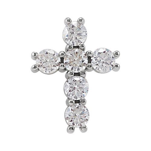 14kt White Gold 1/3 ct Diamond Cross Pendant