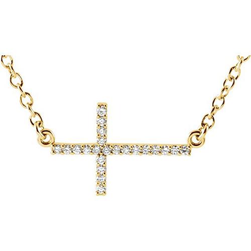 14kt Yellow Gold .08 ct Diamond Sideways Cross Necklace