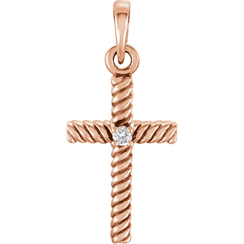 14kt Rose Gold 3/4in Diamond Rope Textured Cross
