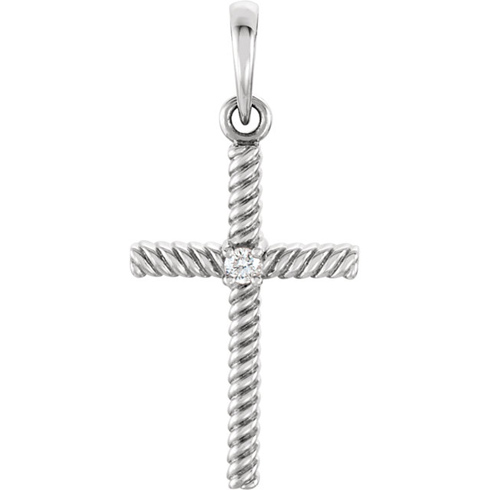 14kt White Gold 1in Diamond Rope Textured Cross