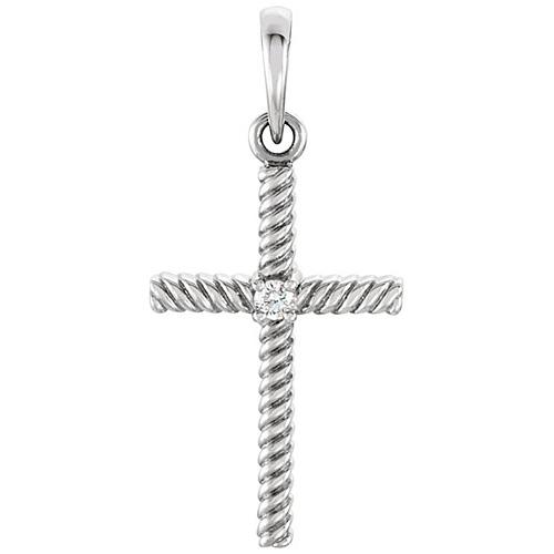 14kt White Gold 1in Diamond Rope Textured Cross