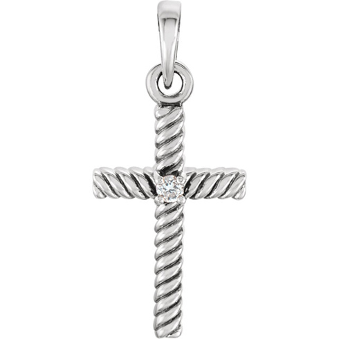 14kt White Gold 3/4in Diamond Rope Textured Cross