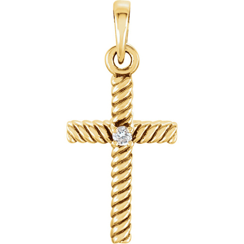 14kt Yellow Gold 3/4in Diamond Rope Textured Cross
