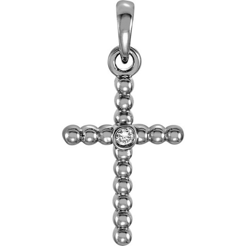 14kt White Gold 3/4in Beaded Cross with Diamond Accent
