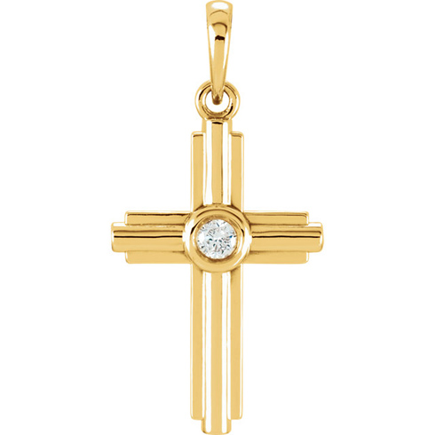 14kt Yellow Gold 1in Stepped Cross with Diamond Accent