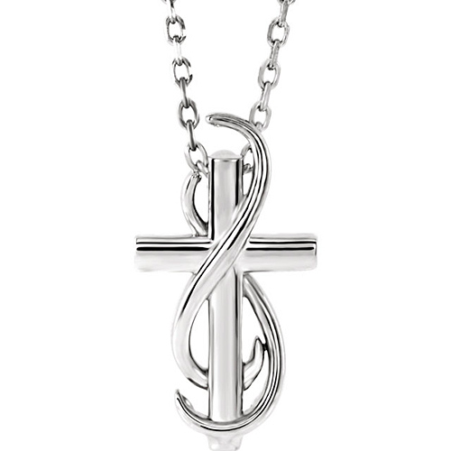 14k White Gold Infinity Wrapped Cross Necklace 18in