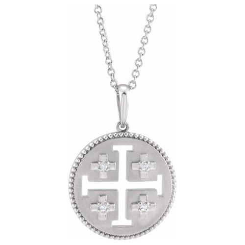 14k White Gold .025 ct tw Diamond Jerusalem Cross Necklace