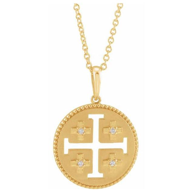 14k Yellow Gold .025 ct tw Diamond Jerusalem Cross Necklace