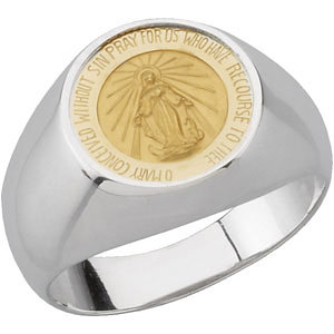 Sterling Silver and 14kt Gold Miraculous Medal Ring