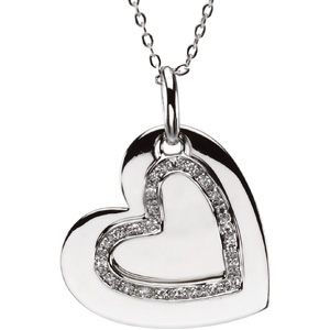 Sterling Silver Mother and Daughter Heart Pendant & 18in Chain