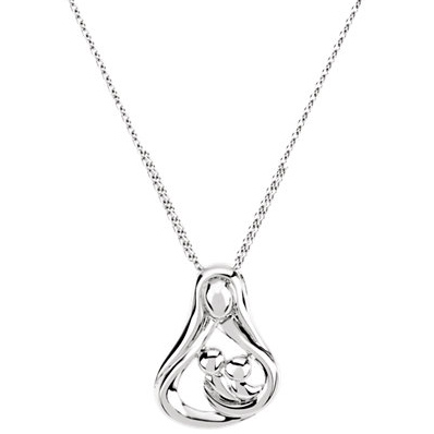 Sterling Silver Embraced by the Heart Mother Necklace Two Children