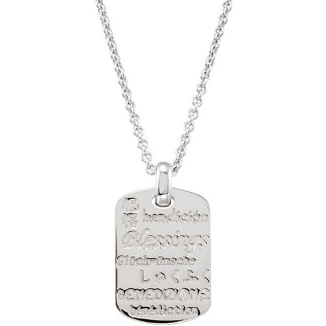Sterling Silver Diamond Accent Blessings 18in Necklace