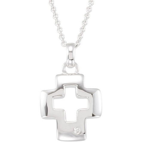 Sterling Silver Diamond Accented Cross 18in Necklace