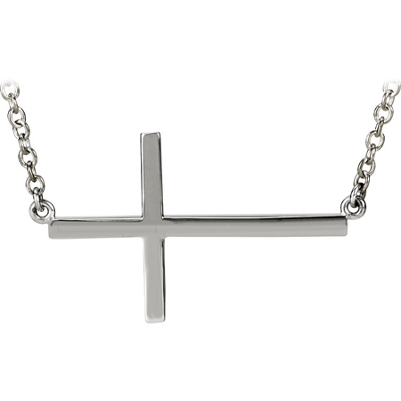 Sterling Silver 1 1/8in Sideways Cross 16in Necklace