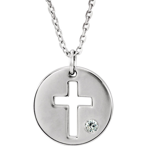 14kt White Gold .03 ct Diamond Pierced Cross Disc Necklace